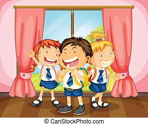 kids - illustration of a kids in room near a window