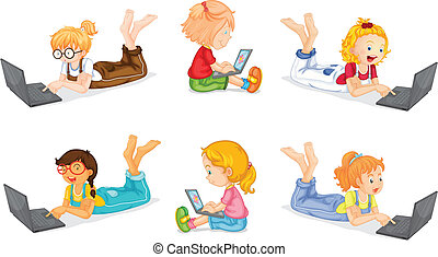 Girls and laptops - illustration of a laptops and girls on a...