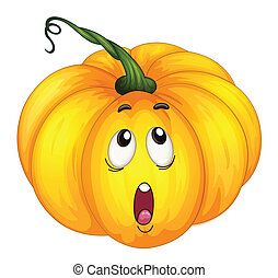 Pumkin looking up - Illustration of a pumpkin with facial...