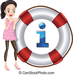 Girl and lifesaver floating - illustration of a Girl and...