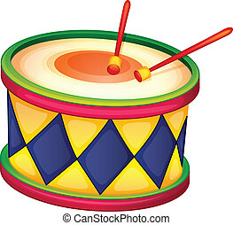 a drum - illustration of a colorful drum on a white
