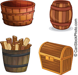 various wooden objects - illustration of various wooden...