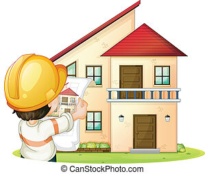a building and engineer - illustration of a a building and...