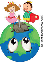 kids on earth planet - illustration of a kids on earth...