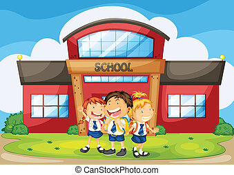 kids infront of school - illustration of kids infront of...
