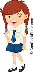 Girl in school dress - illustration of a girl in school...