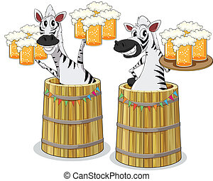 zebra with beer jar - illustration of two zebras with beer...
