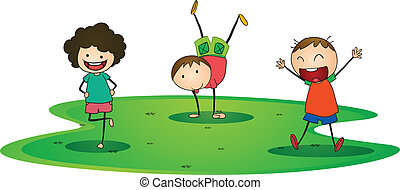kids playing - illustration of a kids happily playing...