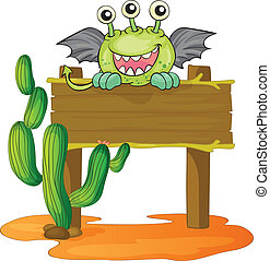 board and monster - illustration of a board and a monster on...