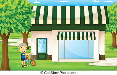 a boy - illustration of a boy playing bicycle infront of...
