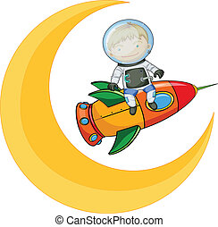 a moon and a boy on rocket - illustration of a moon and boy...