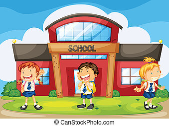 kids infront of school - illustration of a kids infront of...
