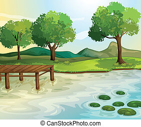 Lake - Illustration of a lake scene