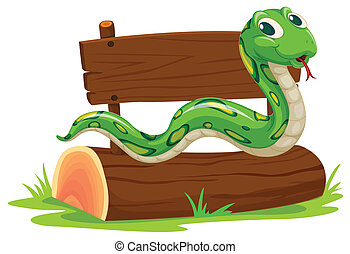Snake - Illustration of a snake on a log