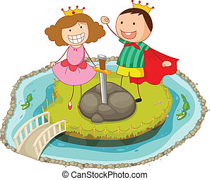 kids playing on island - illustration of a kids playing on...