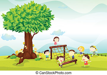kids playing under a tree