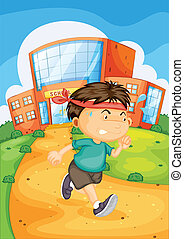 boy infront of school - illustration of a boy infront of...