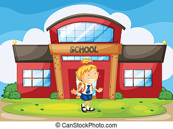 girl infront of school - illustration of a girl infront of...