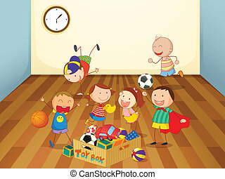 kids playing in a room - illustration of kids playing in a...