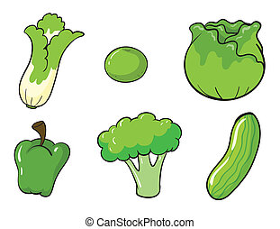 green vegetables - illustration of green vegetables on white...