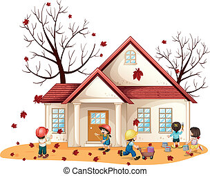 kids cleaning house - illustration of kids cleaning house on...