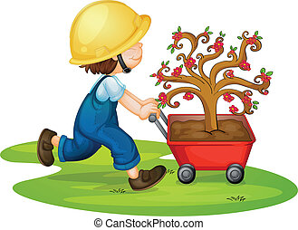 a boy carrying tree - illustration of a boy carrying tree in...
