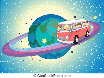 bus on planet - illustration of a bus on saturn planet in...