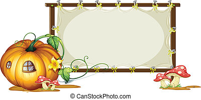 white board and pumpkin house - illustration of board and...