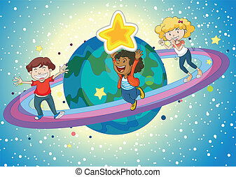 kids on a saturn - illustration of kids on planet saturn and...