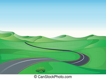 a green landscape and a road - illustration of a green...