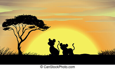 tiger and cub in a beautiful nature - illustration of tiger...
