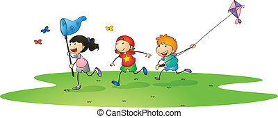 kids playing with kites - illustration of a kids playing...