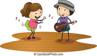 kids playing guitar - illustration of kids playing guitar n...