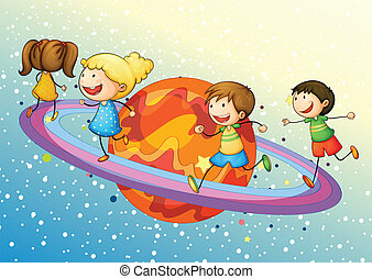 kids on planet - illustration of a kids on saturn planet in...