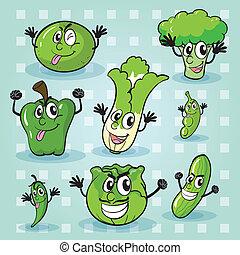 vegetables - illustration of various vegetables on a blue...