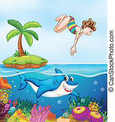 island, corel, shark and girl diving - illustration of...