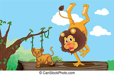 a lion and cub - illustration of a lion and cub in jungle