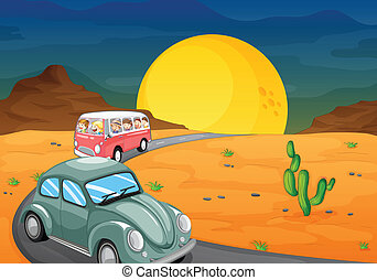 car and bus with kids on road - illustration of a car and a...