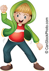a boy in green jacket - illustration of a boy in green...