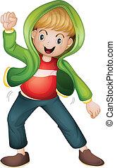 a boy in green jacket