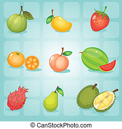 fruits - illustration of various fruits on a blue background
