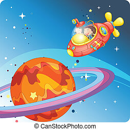 kids in spaceship and saturn - illustration of a kids in...
