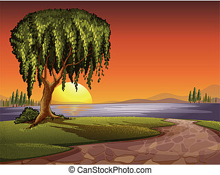 tree - illustration of tree in a beautiful nature