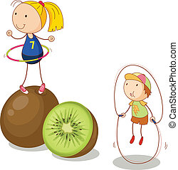 kids and kiwifruits - illustration of kids and kiwifruits on...