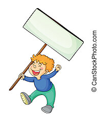Boy holding white board - illustration of a boy holding...