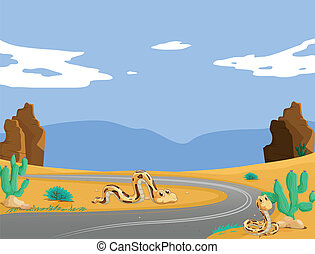 snakes - illustration of two snakes in the desert