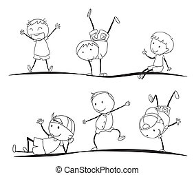 kids sketches - illustration of kids sketches on a white...