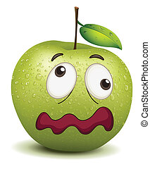 dull apple smiley - illustration of a dull apple smiley on a...