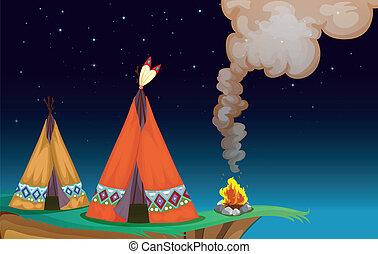 tent house and fire - illustration of a tent house and fire...