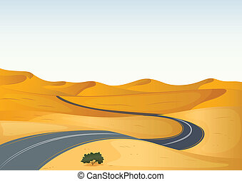 road in a desert - Detailed illustration of a road in a dry...